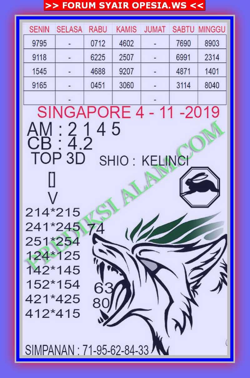 Kode syair Singapore Senin 4 November 2019 100