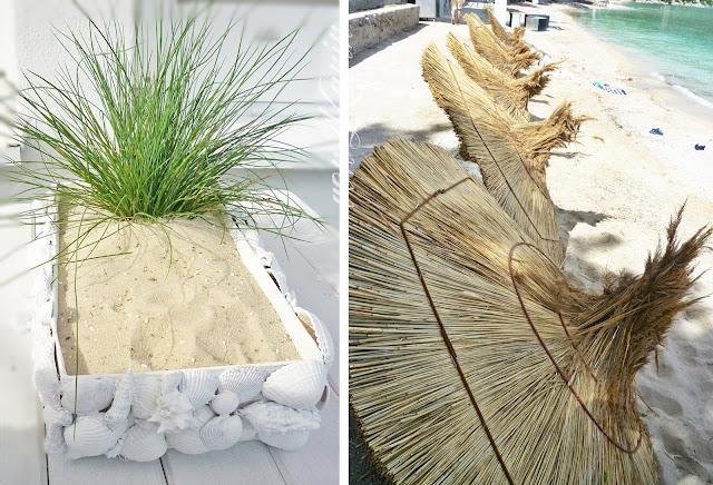 Strandlandschaft basteln mit Muscheln und Strandbild mit Sonnenschirmen