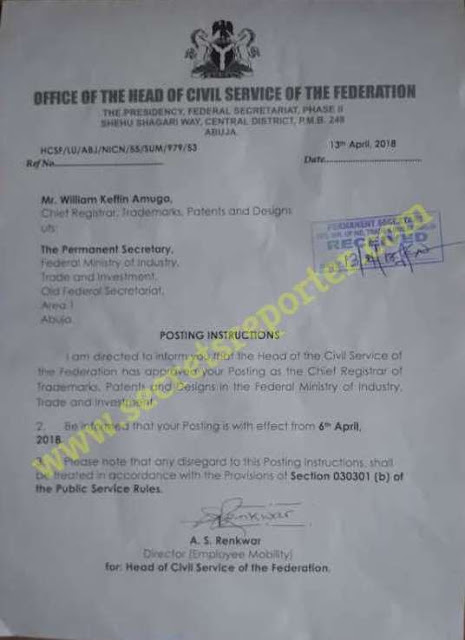 FRAUD CARTEL: Head of Civil Service of the Federation MRS. OYO ITA out of fear reinstates MR. Amuga to curb backlash after fraud allegations against Trade Minister