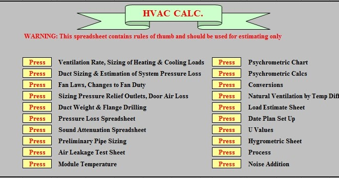 HowMechanismWorks ?: Total HVAC Calculations In Excel Sheet