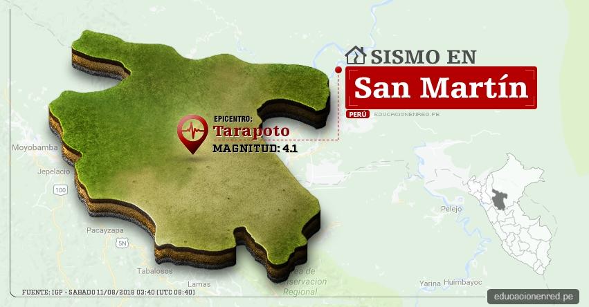 Temblor en San Martín de magnitud 4.1 (Hoy Sábado 11 Agosto 2018) Sismo EPICENTRO Tarapoto - Lamas - Tocache - Uchiza - IGP - www.igp.gob.pe