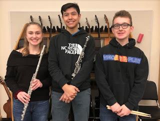 Emma Kucich- Flute, Augustine Marzoratti - Clarinet and Robert Castro - Jazz Drums