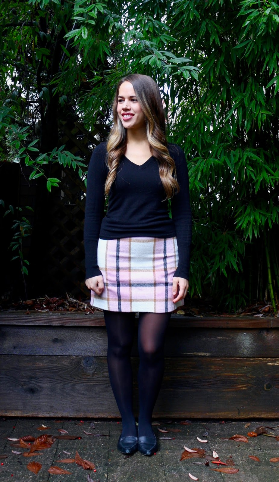 Jules in Flats - Pink Plaid Mini Skirt (Business Casual Fall Workwear on a Budget)