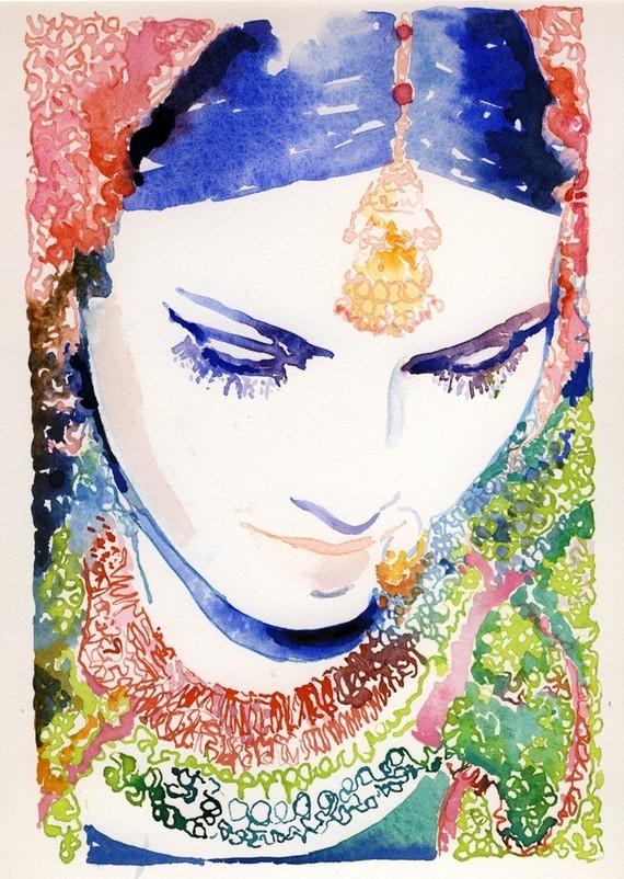 "Watercolor Fashion Illustration Canvas Print 24"" x 36 ..."