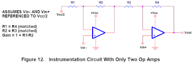 Instrumentation Amplifier using two Op-Amps