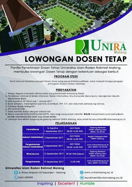 Lowongan Dosen Tetap Universitas Raden Rahmat (UNIRA) Malang Agustus 2017