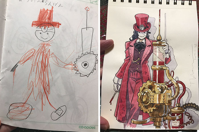 #3 Steampunk Doctor - Dad Turns His Sons' Doodles Into Anime Characters, And The Result Is Amazing