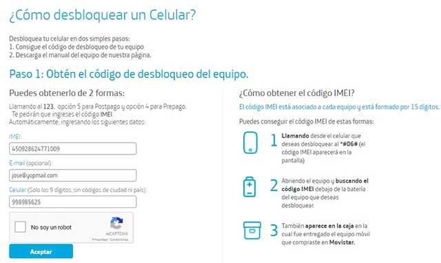 página de Movistar para desbloquear