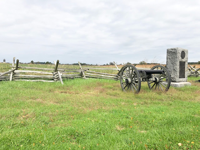 Canon and fence long Gettysburg Battlefields