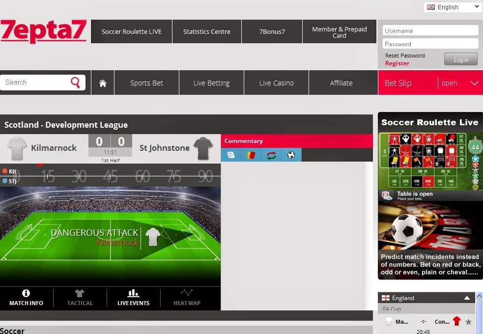7epta7 Live Betting Screen