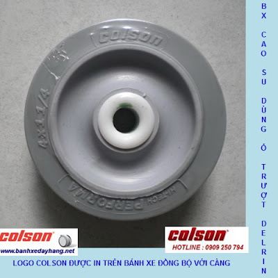 Bánh xe cao su có in logo Colson trên bánh xe