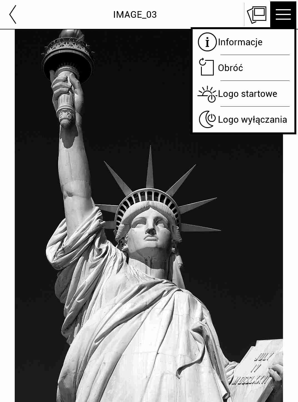 Rozwijane menu z poziomu przeglądania zdjęć w aplikacji Galeria na czytniku PocketBook TouchHD2