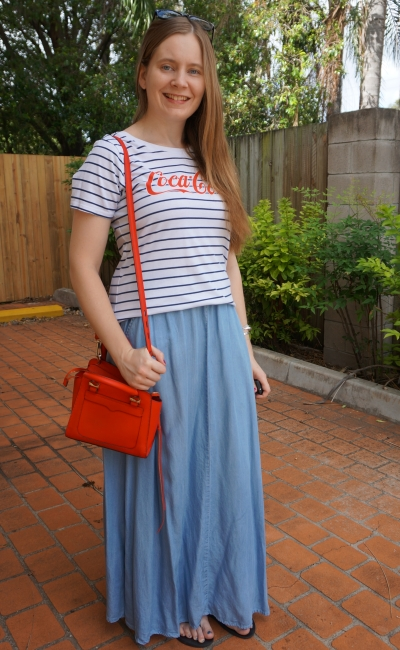stripe logo coca-cola tee with chambray maxi skirt summer SAHM style red avery bag | away from blue