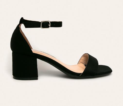 Sandale negre ieftine elegante de zi cu toc gros mediu din catifea