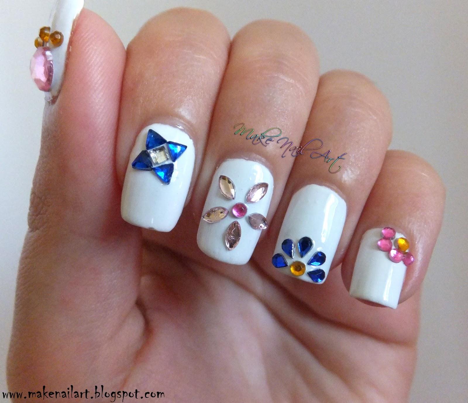 Make Nail Art Rhinestone Flowers Nail Art Tutorial