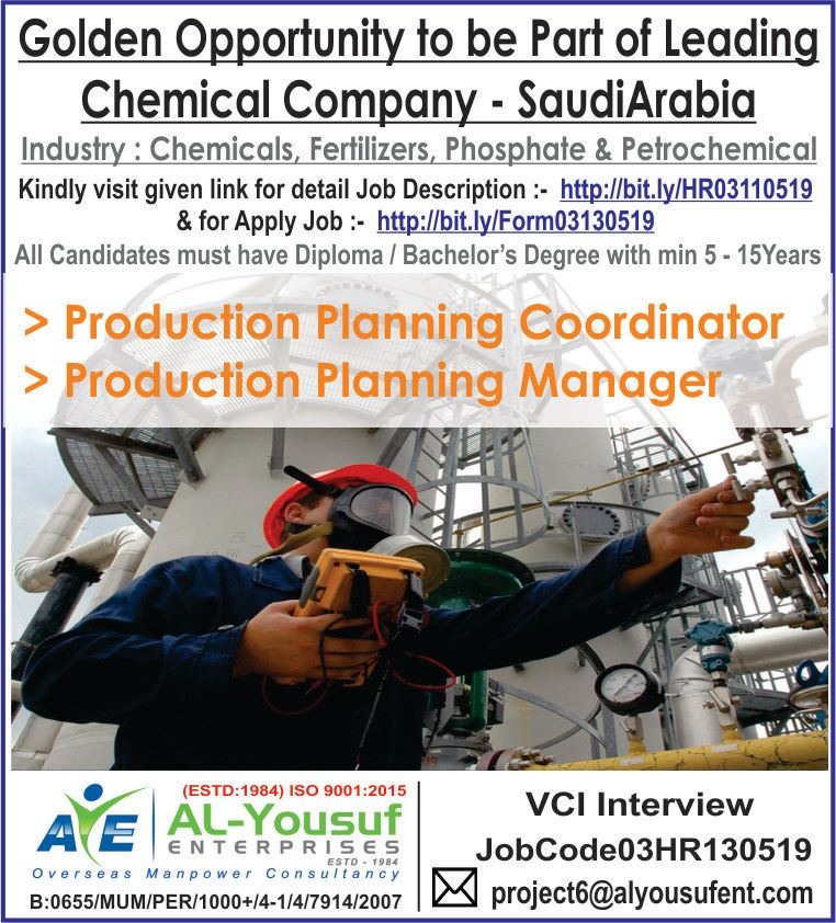Golden Opportunity to be part of leading Chemical Company