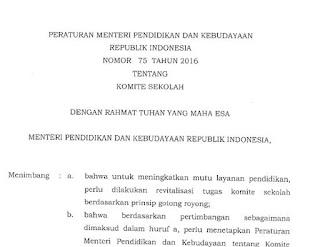 Guru Tak Boleh Jadi Anggota Komite Sekolah, Permendikbud Nomor 75 Tahun 2016