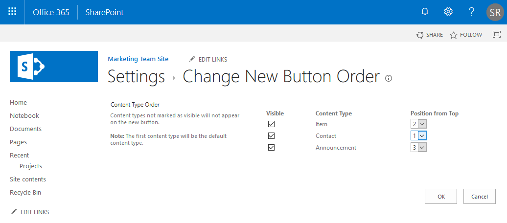 sharepoint online change content type order powershell
