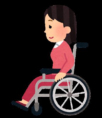 横から見た車椅子に乗る人のイラスト(女性)