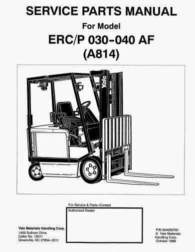 Free Automotive Manuals: Yale Electric For Model ERC-ERP