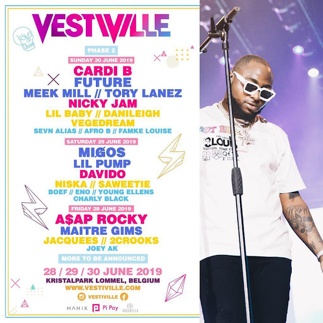 Davido & Migos set share stage with Lil Pump, Niska, Sawrettie, Boef, Eno, Young Elles, Charly Black at VESTIVILLE