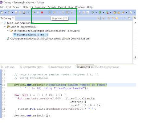 How to Move Step by Step in your Java Code while debugging in Eclipse