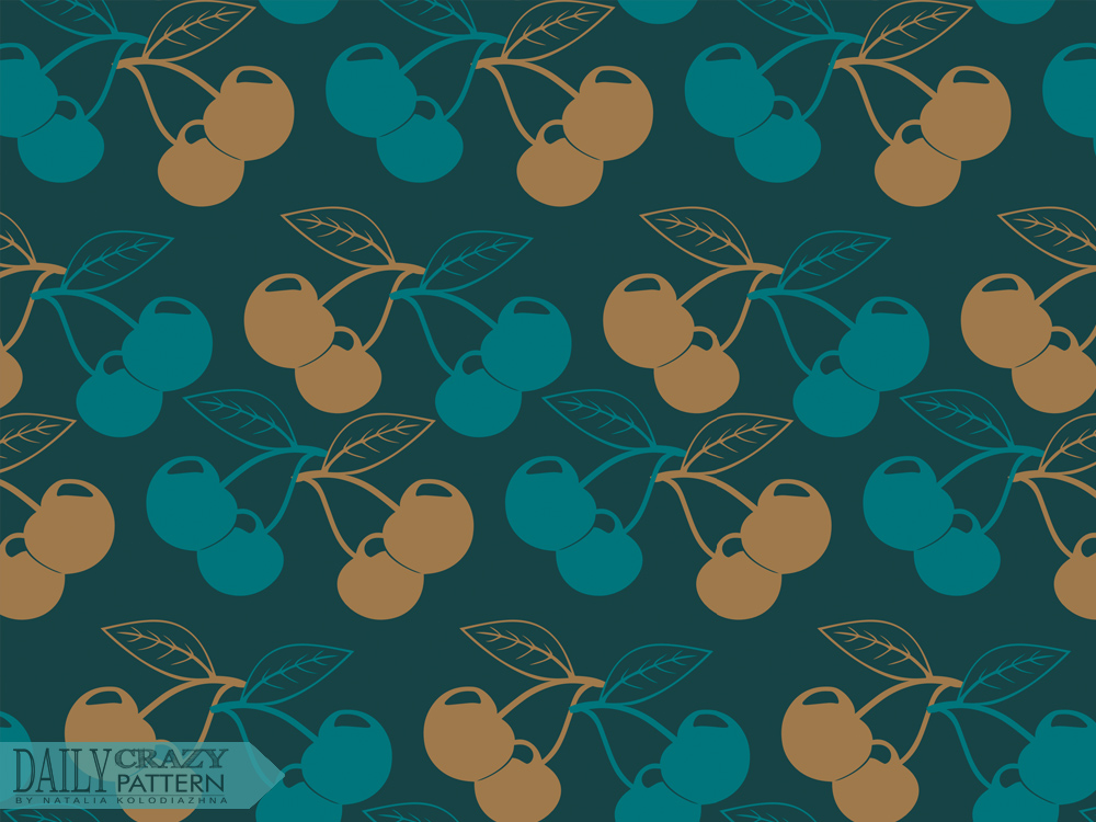"Retro pattern with cherries for ""Daily Crazy Pattern"" project 
