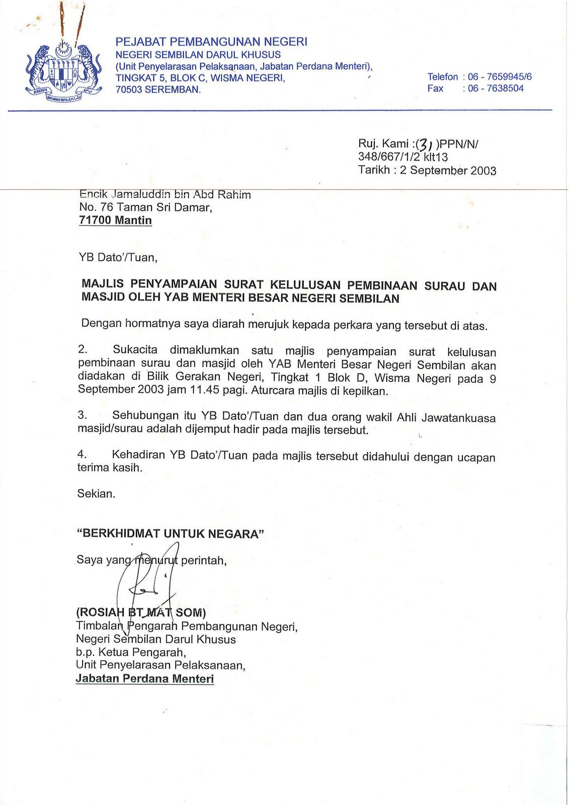 Surat Rasmi Kepada Menteri Besar Johor J Kosong W