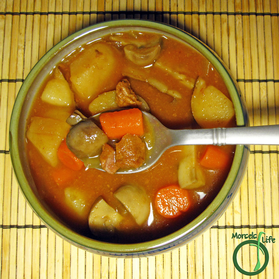 Morsels of Life - Everything Soup - Beef, potatoes, carrots, onions, and mushrooms (plus whatever your heart desires) in a very versatile and super tasty tomato based soup.