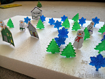 Winter village fine motor activity for kids from And Next Comes L