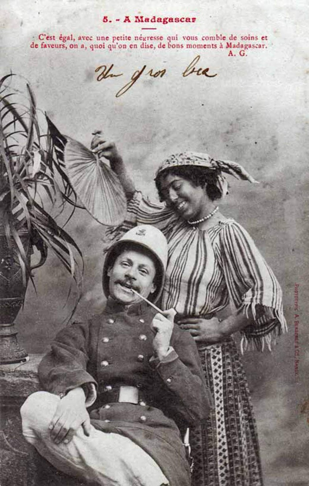 """It's all the same, with a little Black woman taking care of your needs and showing you favor, it doesn't matter what people say, these are good times in Madagaskar."" French postcard."