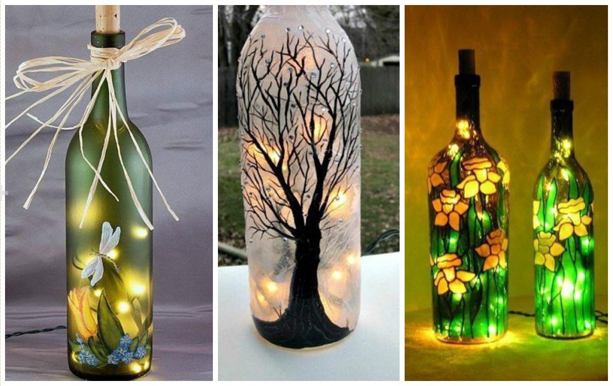10 manualidades incre bles con botellas de vidrio recicladas - Botellas decoradas navidenas ...