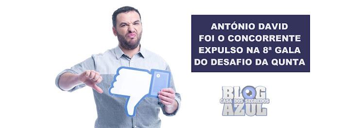 António David foi a concorrente expulsa na 8ª Gala do 'Desafio da Quinta' - Resultados Oficiais vs Sondagens.