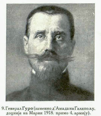 General Gouraud took d'Amade's place in Gallipoli, later took over the 4th Army on the 2nd Marne 1918.