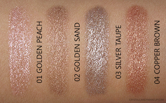 Clarins Sunkissed Collection Waterproof Eyeshadow Shimmering Cream Colour Silver Taupe Copper Brown Swatches