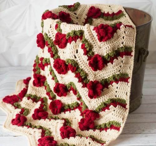 Flower Garden Chevron Afghan - Crochet Pattern