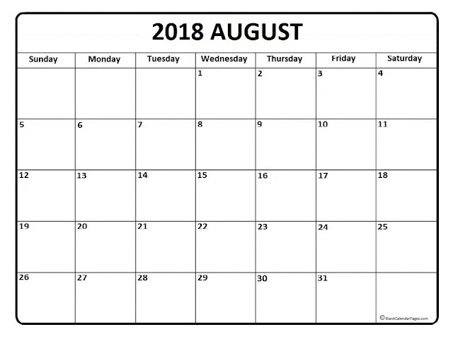 August 2018 Calendar, August 2018 Calendar Printable, August 2018 Calendar Template, August 2018 Calendar Holidays, August 2018 Calendar PDF, August 2018 Printable Calendar, Blank August Calendar 2018
