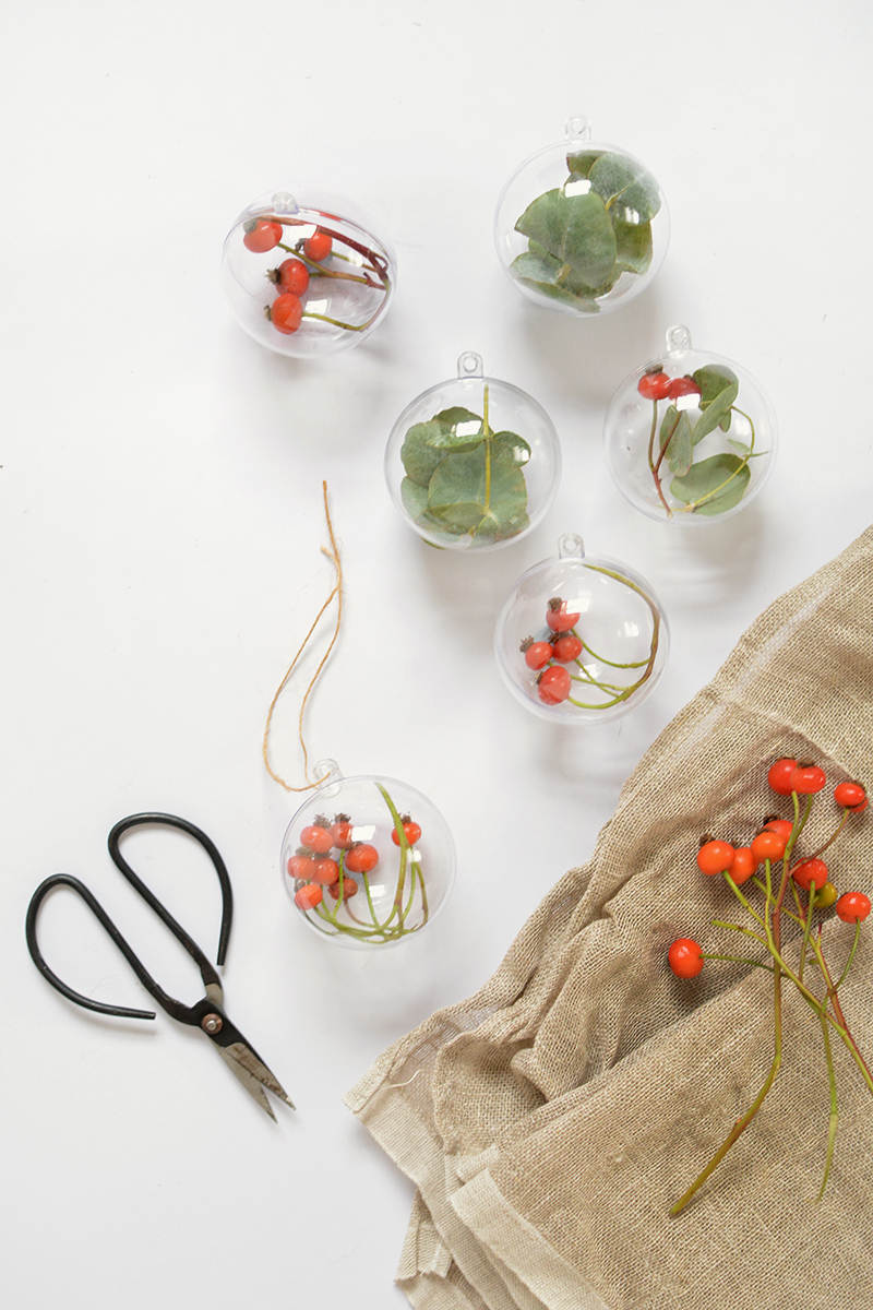 eucalyptus christmas baubles and decor
