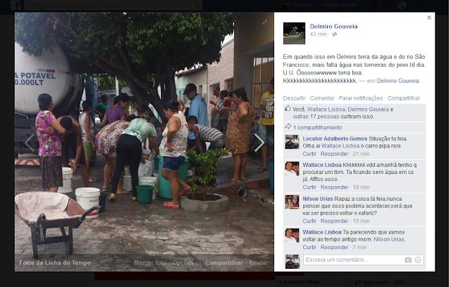 Delmirenses reclamam da falta d'água em Delmiro Gouveia.