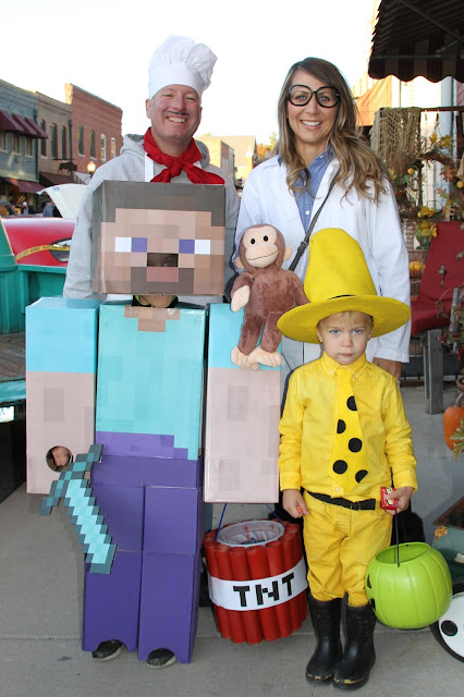 DIY Halloween costumes.  Minecraft Steve, Curious George's Man in the Yellow Hat, Chef Pisgetti, and Professor Wiseman