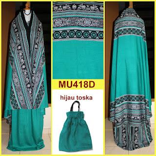 mukena bali motif songket warna hijau toska mu418d