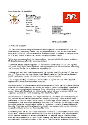 Uk armed forces commentary the letter provides hints of what happens to the royal artillery malvernweather Images
