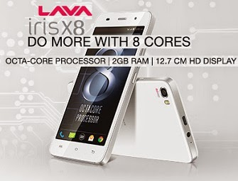 Lava Iris X8 with Octa-Core Processor 1.4GHz, Dual SIM, 2GB RAM, 16GB ROM, KitKat 4.4. upgradable Lollipop v5.0 for Rs.8999 Only