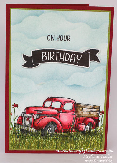 Stampin Up, #thecraftythinker, Country Livin', Masculine Card, watercolouring, Sponging, Card with truck, Stampin up Australia Demonstrator