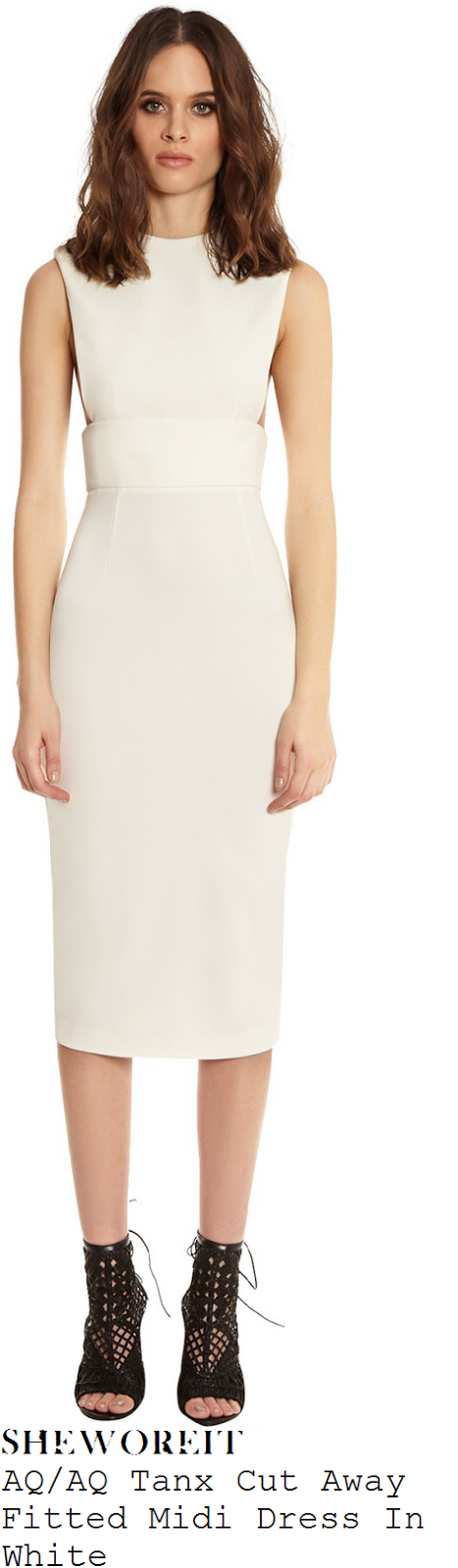 lucy-mecklenburgh-aq/aq-tanx-white-cream-cut-away-fitted-midi-dress