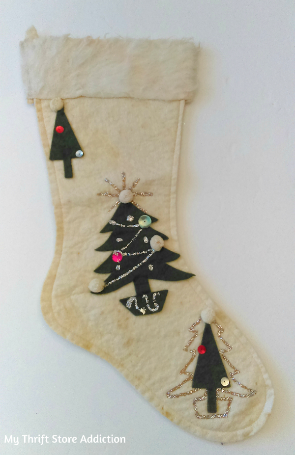 retro vintage Christmas stocking