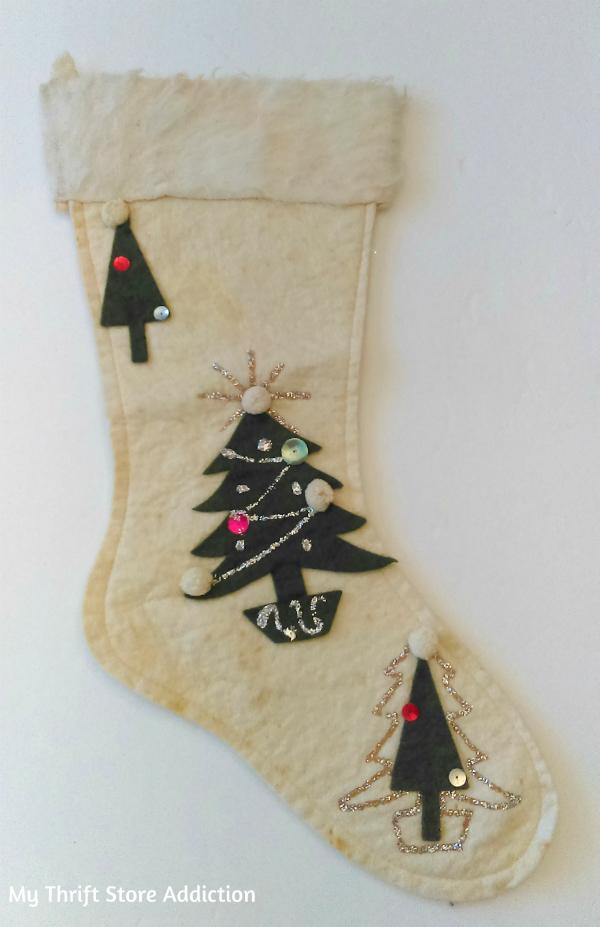 retro vintage Christmas stocking