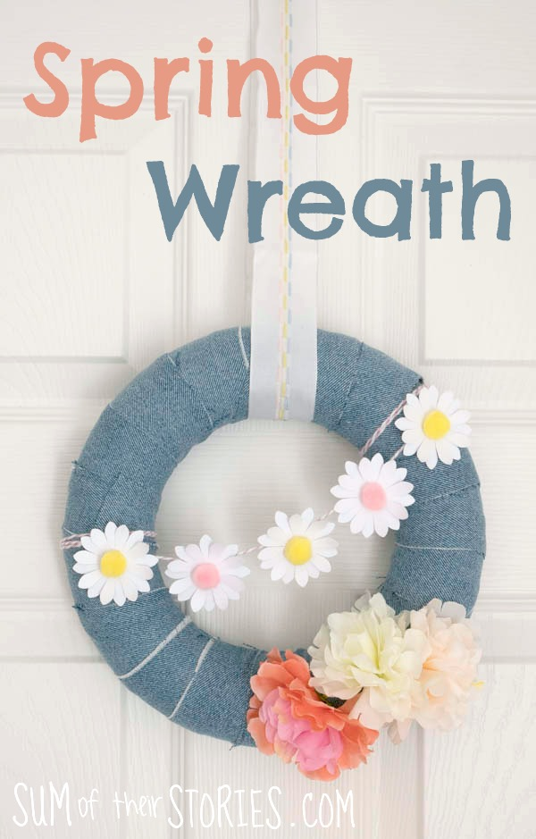 Spring wreath with daisy garland and recycled denim