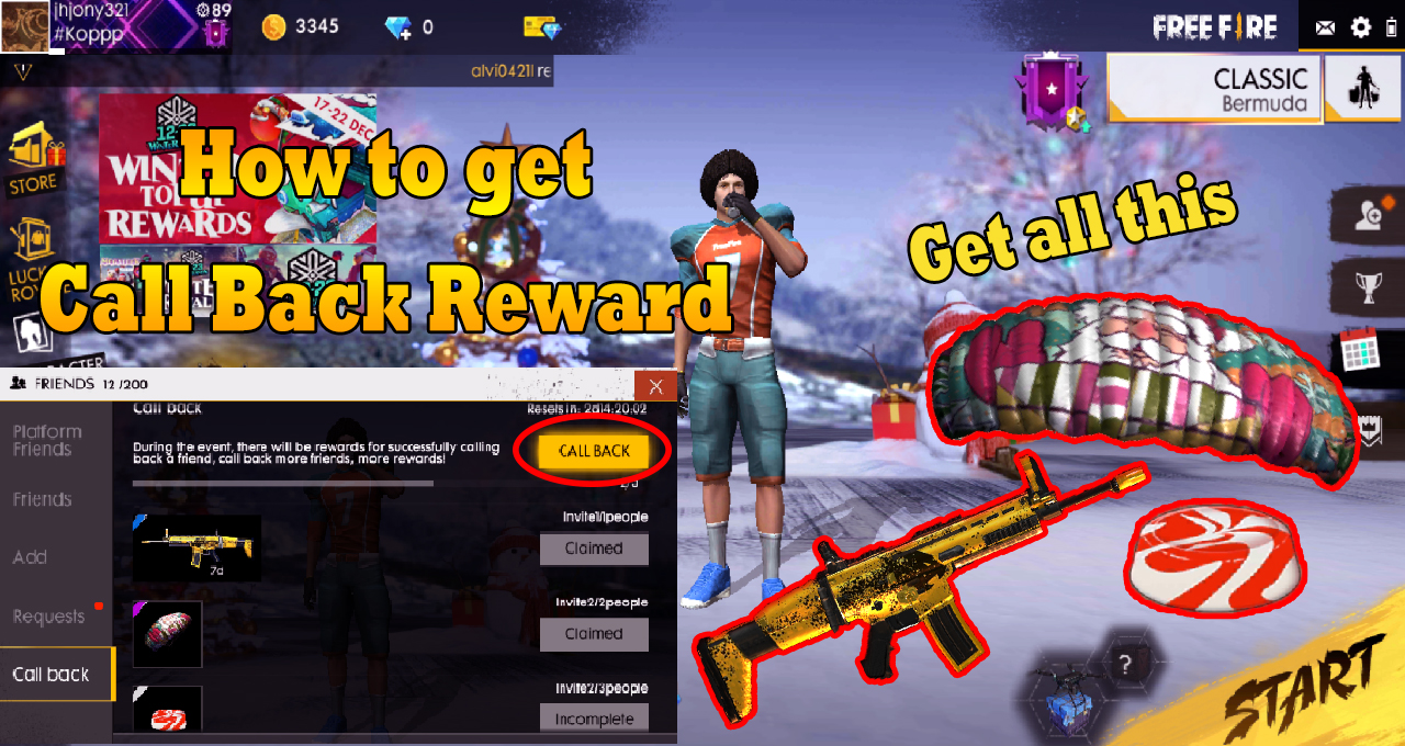 How To Get Call Back Reward Free fire Battleground | Complete full