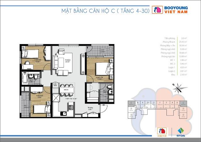 Căn hộ C ( 3 - 12 ) - 88,55m2 tòa CT-07